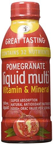 Multivitamin líquido de Granada. Vitaminas y suplementos minerales. Súper - súper absorción. Antioxidante natural. 1 onza es igual a 8 onzas de jugo de Granada. Sin azúcar añadido. 500ml/17 oz