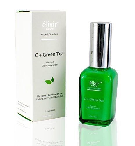 Elixir natural vitamina C + té verde diario crema hidratante para la cara - Paraben orgánicos libres anti-envejecimiento fórmula - mejor vitamina C ácido hialurónico crema para el tratamiento de las arrugas, el envejecimiento y manchas oscuras