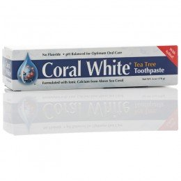 LLC coral - Coral crema dental blanca, té del árbol de sabor, sin flúor, 6 oz