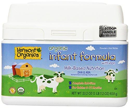 Vermont orgánicos a base de leche orgánica fórmula infantil con hierro, 23,2 oz.  (Paquete de 4)