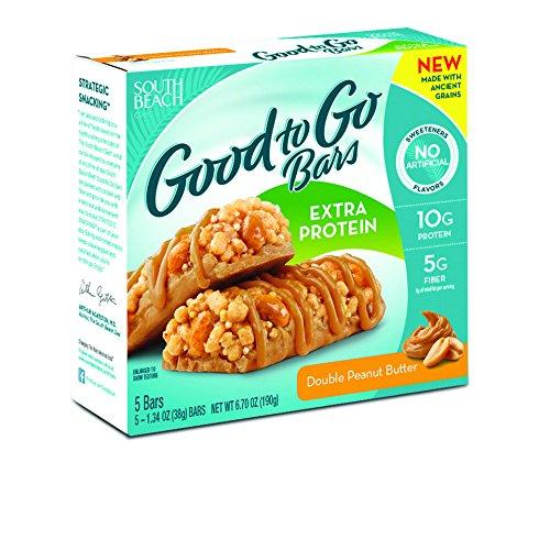 South Beach dieta buena para ir de bares, proteína Extra, doble mantequilla de maní, 1,34 onza, cuenta 5 (paquete de 8)