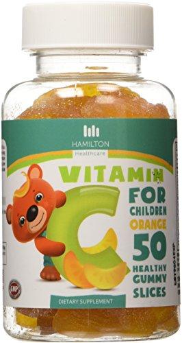 Vitamina C para niños, 50 naranja rodajas gomosas saludable sabor con ningunos sabores artificiales por Hamilton Healthcare