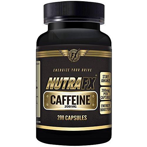 Las píldoras de cafeína Nutrafx | SUMINISTRO A GRANEL | 200 cápsulas cafeína LEGAL máximo | COMPARAR A 4 TAZAS DE CAFÉ | 200 mg (anhidra)