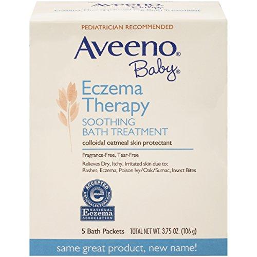 Aveeno Baby Eczema terapia calmante tratamiento de baño de bebé, cuenta 5-3.75 onzas (paquete de 2)