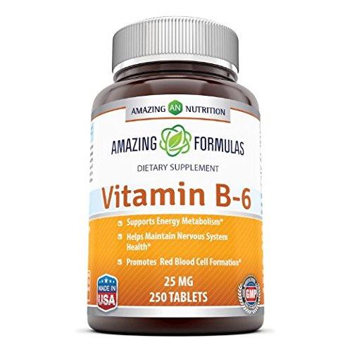 Increíble nutrición vitamina B-6, 25 Mg 250 fichas - apoya salud del corazón y sistema nervioso