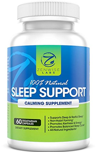 Soporte de sueño natural 100% - Extra fuerte sueño nocturno ayuda suplemento - 60 cápsulas de vegetariana no-hábito con magnesio, L-taurina, L-teanina y 5-HTP - pastillas para dormir profundo y reparador
