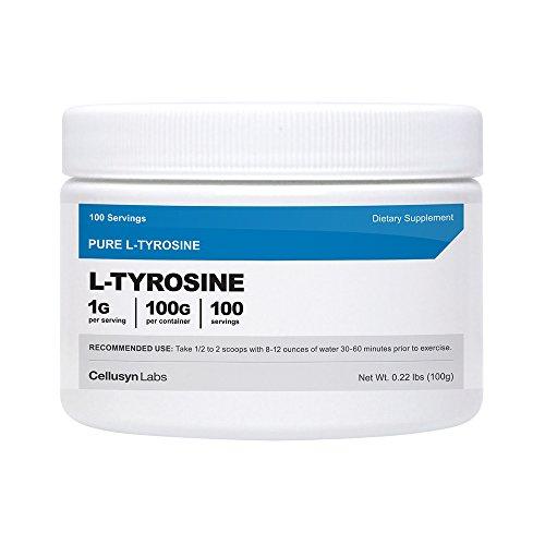 Polvo de Cellusyn L-tirosina [100 GMS] - L-tirosina pura en polvo - 100 porciones, 1G por porción