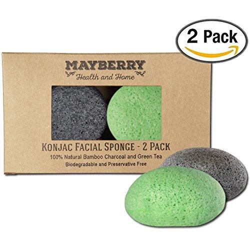 Konjac Esponja con carbón de bambú y verde Esponja Konjac de té - 2 Pack - 100% Natural para mejorar la apariencia de la piel - esponjas cada vienen con una cadena de atado