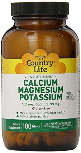 Vida de país destino minutos calcio magnesio potasio 500mg / 500mg / 99mg 180 pastilla