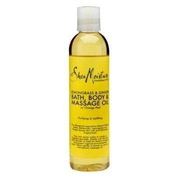 Humedad de karité Lemongrass y jengibre baño, cuerpo y masaje de aceite 8oz
