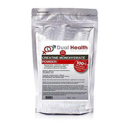 2 lb creatina monohidrato en polvo puro (907.2 g) muscular Amino ácido Body Building Halterofilia farmacéutica micronizada USP y FCC alimenticia por salud Dual