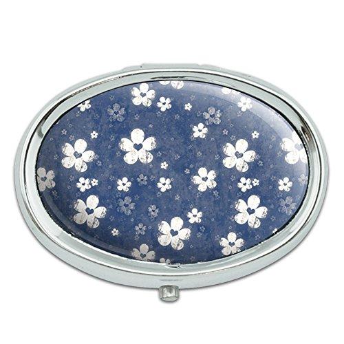 Dril de algodón flores Metal Oval caso pastillero