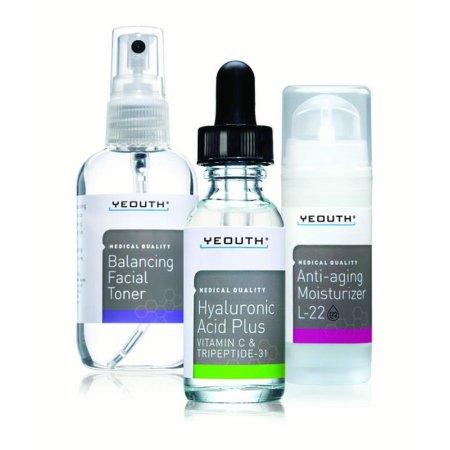 Yeouth Anti Aging Skin Care System 3 Pack Mejor por Yeouth, Profesional de Grado Ácido Hialurónico Suero, patentado L22 Cara Crema hidratante, y el equilibrio de Tónico facial - Anti Aging Suero Kit - 100% garantizado