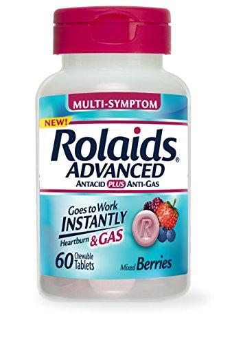 Rolaids avanzado antiácido más Anti Gas comprimidos baya mixto, cuenta 60