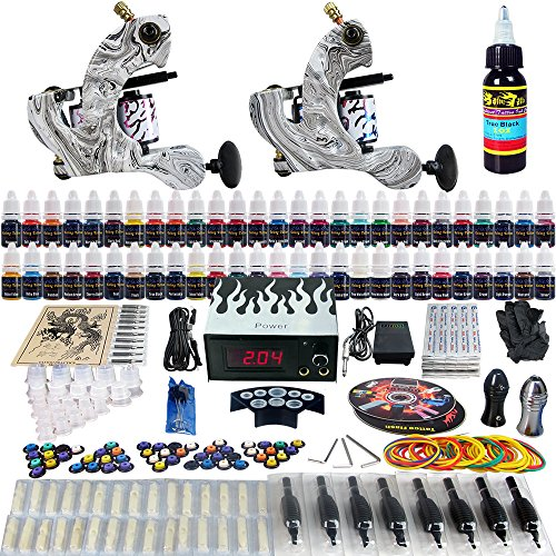 Solong Tattoo® completa tatuaje Kit 2 ametralladoras Pro 54 tintas poder fuente pie Pedal agujas Grips Tips TK220