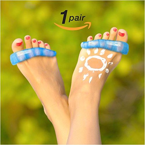 Pasado los límites separadores del dedo del pie y los espaciadores para pies sanos (azul)