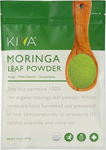 Polvo de hoja de Moringa orgánica Kiva - no-GMO y crudo - 16 Oz a 1 LB *** tiempo limitado - precio del producto nuevo!!