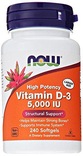 AHORA alimentos vitamina D3 5000 Iu, 240 cápsulas,