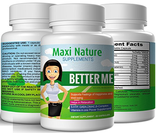 Suplementos de naturaleza Maxi Me mejor fórmula del estado de ánimo positivo y ansiedad estrés socorro suplemento (60 cápsulas)