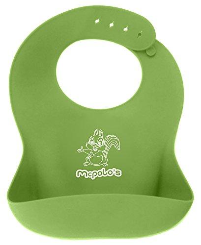 Lindo bebé ardilla de McPolo 44® de U-Essae - babero impermeable del silicón fácilmente toallitas limpia! Baberos de bebé suave cómodo mantienen las manchas! Gastar menos dinero y tiempo de limpieza después de las comidas con los bebés 4 MO a 4 YO auto al