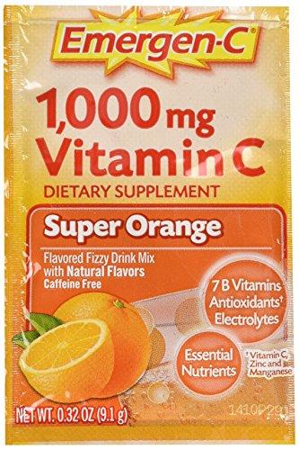 Emergen-C vitamina C efervescente bebida mezcla, 1000 mg, Super naranja, 0,3 onzas paquetes 30 paquetes.