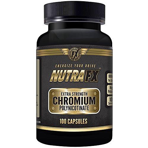 Nutrafx cromo | ULTRA RESISTENCIA 1000 MCG POR CÁPSULA | Suplemento de apoyo de colesterol y supresor del apetito | Cromo polinicotinato 100 Caps