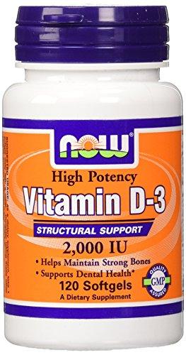 AHORA alimentos vitamina D-3, 2.000 UI, 120 cápsulas