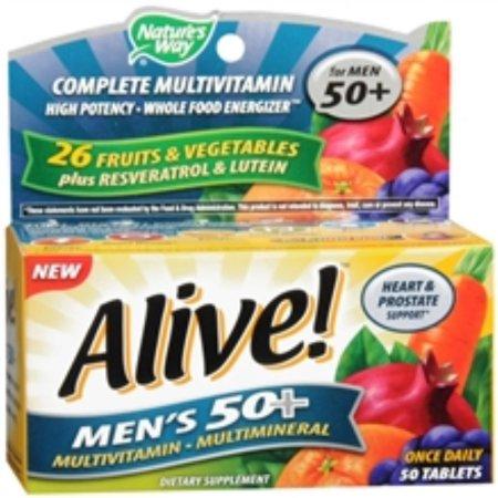 Alive mens 50+ alta potencia multivitamínico 50 Cápsulas 4 Cajas