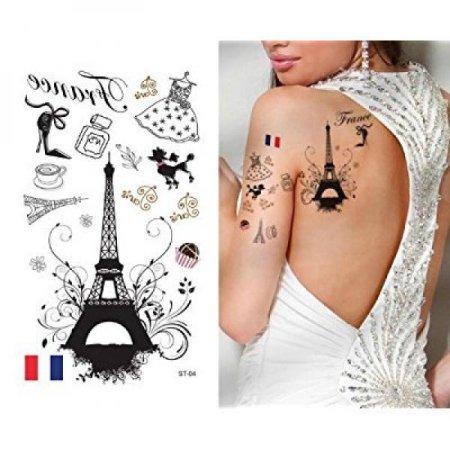 Supperb tatuajes temporales - Amo París, Francia Torre Eiffel