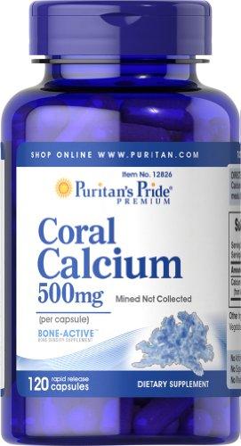 De Puritan Pride calcio Coral 500 mg-120 cápsulas