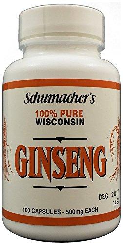 Ginseng americano capsulas, Ginseng de Wisconsin puro 100%, 500mg, 100 cápsulas - mejor suplemento de Ginseng, Ginseng de Wisconsin potente puro raíces de Ginseng de Schumacher