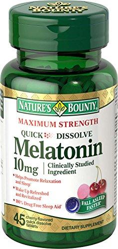 Las naturalezas Bounty melatonina rápida disolver la tableta, 10 mg, cuenta 45