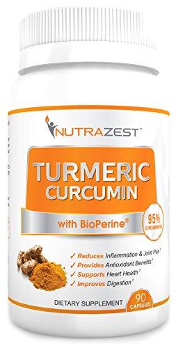 Curcumina de la cúrcuma orgánica de Nutrazest Premium - 500mg de cúrcuma curcumina (95%) w/BioPerine Extracto de pimienta negra para beneficios de Anti-Aging inflamación articulaciones dolor alivio digestivo y la salud de la CV - 90 cápsulas