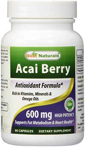 Acai Berry 600 mg por mejor Naturals--100% puro alta potencia--apoya metabolismo de las grasas, fabricado en un E.e.u.u. base GMP certificada la facilidad y tercero prueba de pureza. Garantizado!!!! (60 caps)