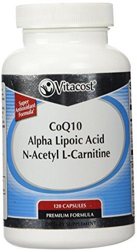 Vitacost CoQ10, ácido alfa-lipóico + acetil L-carnitina HCl--700 mg - 120 cápsulas