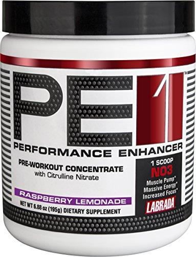 Labrada nutrición suplemento de pre-entrenamiento concentrado PE1, limonada de frambuesa, 195 gramos