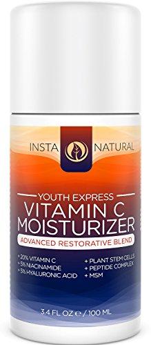 Crema hidratante de vitamina C para la cara, piel y cuerpo - con 20% vitamina C, ácido hialurónico, niacinamida y aceite de Jojoba orgánico - Anti envejecimiento loción - para las arrugas, líneas finas y manchas - InstaNatural - 3.4 OZ