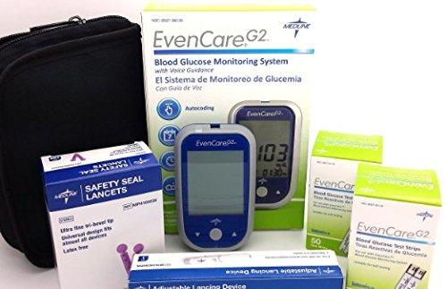 Kit de prueba de diabetes - Medline EvenCare G2 Diabetes Care paquete incluye Monitor de glucosa de la sangre y 100 tiras de prueba de G2 y sello de seguridad 100 g 30 Lancest y dispositivo de aterrizaje