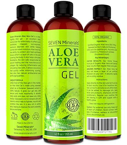 Aloe Vera GEL 99% orgánica, 12 oz - NO goma, por lo que absorbe rápidamente con ningún residuo pegajoso - ver resultados o devolución del dinero