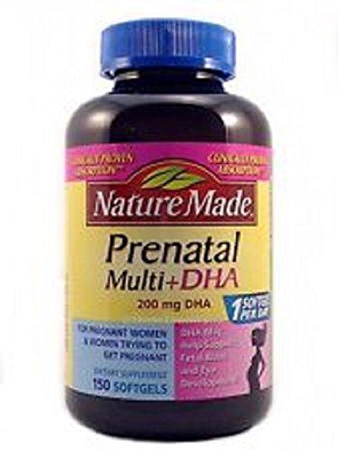 Naturaleza hizo Prenatal Multi + dha 200 Mg Dha para mujeres 12 meses antes del parto: 150 Cápsulas