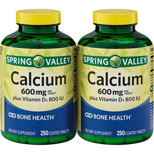 Spring Valley - 600 mg de calcio con vitamina D3, Twin Pack, 250 tabletas cada paquete