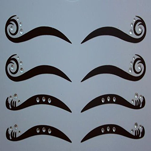 Spritech(TM) 4 pares delineador negro doble párpado etiqueta ojo cintas maquillaje belleza herramientas con diamante blanco