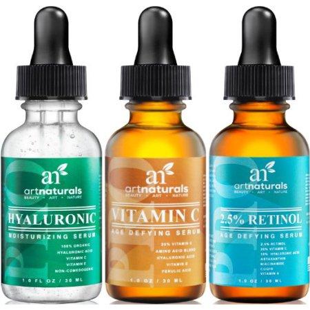 Arte Naturals Set anti envejecimiento: La vitamina C sérica (1,0 onzas), y Serum Retinol (1,0 oz) de suero y ácido hialurónico (1,0 oz) de por Anti arrugas y ojeras Eliminar