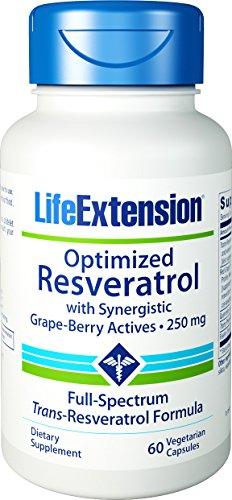 Extensión de vida optimizado Resveratrol con sinérgico baya de uva activos 60 vegetales cápsulas