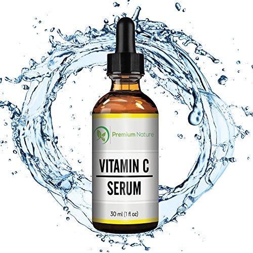 Vitamina C suero 20% vitamina C fuerza Super suplemento con ácido hialurónico para la piel, cara y cuerpo, Anti envejecimiento, hidratando la piel y reparar 1 Oz por naturaleza Premium