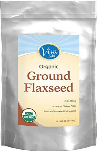 Viva Labs - la mejor tierra orgánica lino semilla, propietaria molida fría tecnología, 15 oz
