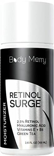 Retinol crema hidratante para la cara - 3.4 oz - mejor crema de noche con 2.5% de Retinol, ácido hialurónico, té verde y vitaminas - peleas de acné, arrugas, líneas finas y manchas - cuerpo feliz