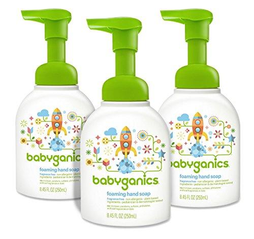 Babyganics espuma de jabón de la mano, sin perfume, 8.45oz bomba de la botella (paquete de 3)