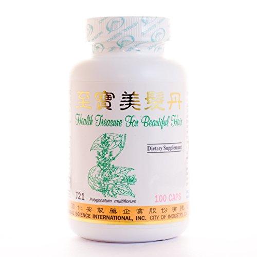 Salud tesoro hermoso cabello dieta suplemento 500mg 100 cápsulas (Zhi Bao Mei Fa Dan) 100% hierbas naturales
