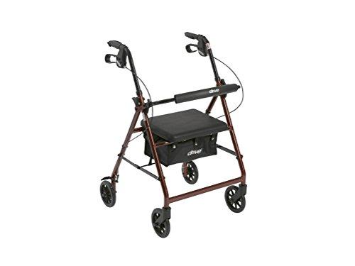Unidad médica aluminio andador Walker se pliegan y respaldo desmontable, asiento acolchado, ruedas de 6